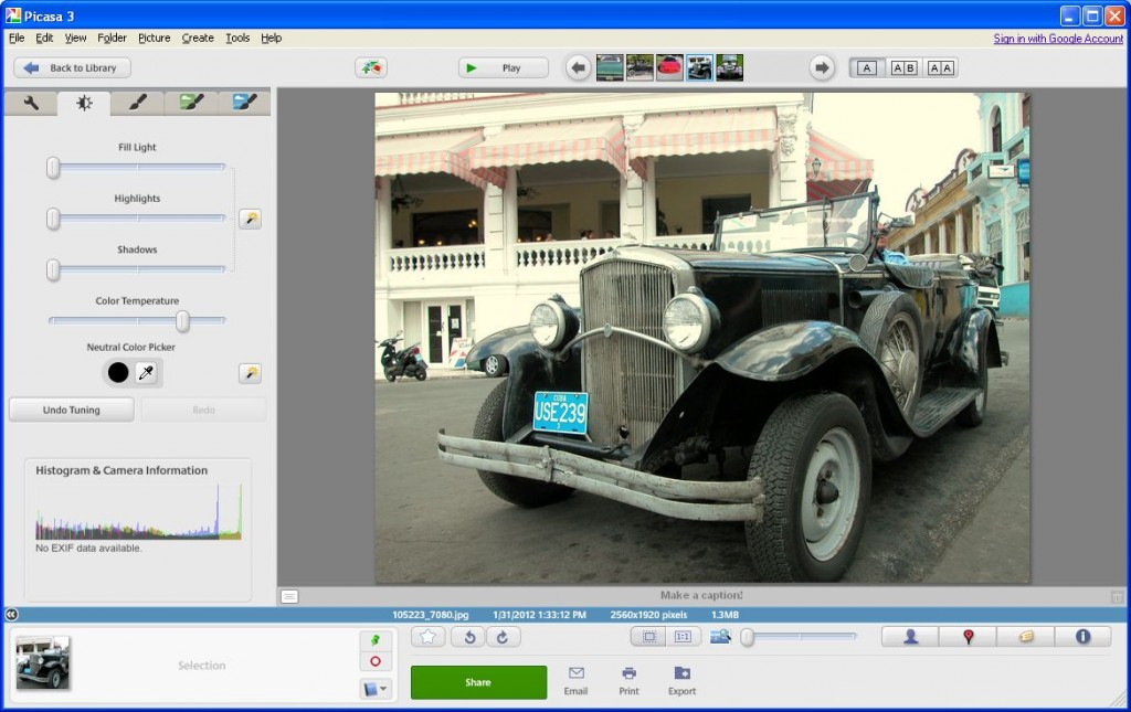 Tuning Tab in Picasa - Add or remove shadows and hightlights or change color temperature